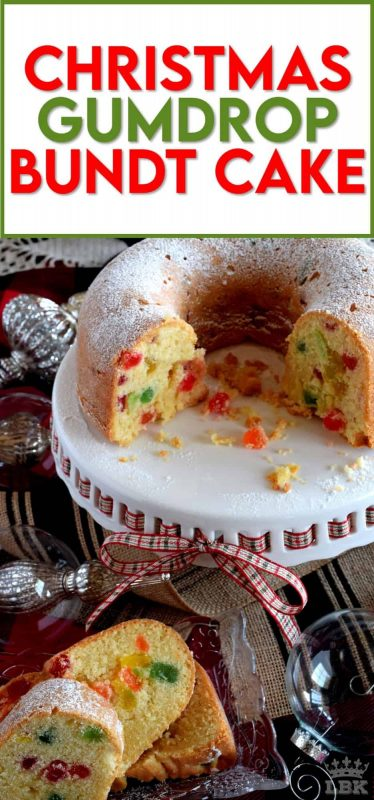 A cake for kids of all ages!  Christmas Gumdrop Bundt Cake is moist and delicious and packed full of chewy candy - who wouldn't love that?  #christmas #holiday #baking #cake #gumdrop #newfoundland #traditional