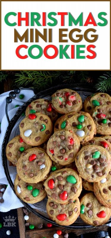 This recipe upgrades a classic chocolate chip cookie with Christmas-themed mini eggs - festive, delicious, and addictive too! #cadbury #hershey #eggies #minieggs #christmas #holiday #baking
