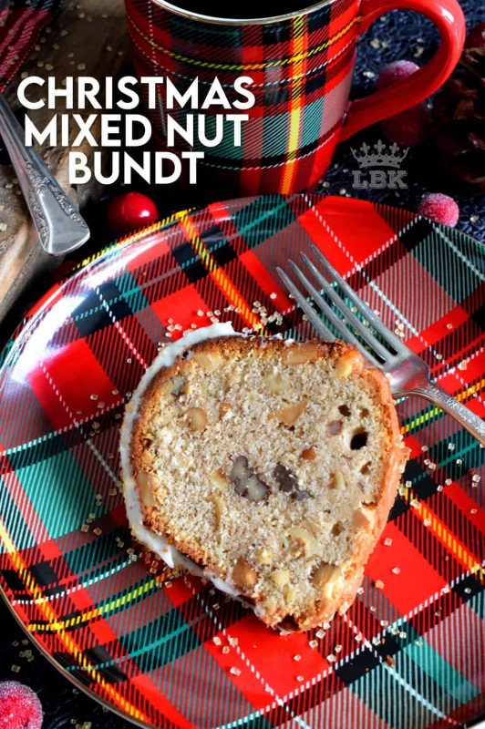 Mixed nuts were always a popular snack item at Christmastime in our home, which is why this bundt cake is nostalgic and delicious! #mixed #nuts #bundt #cake #bundtbakers #christmas #holiday #baking