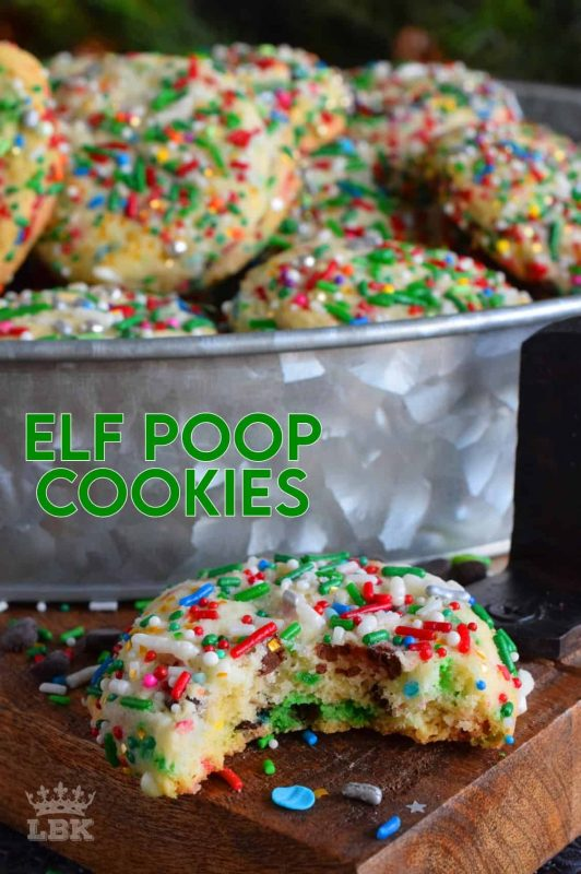 Much like Buddy, these Elf Poop Cookies are peppermint flavoured and packed with sprinkles, chocolate, and of course, sugar! #elf #cookies #sprinkle #poop #christmas #holiday #baking