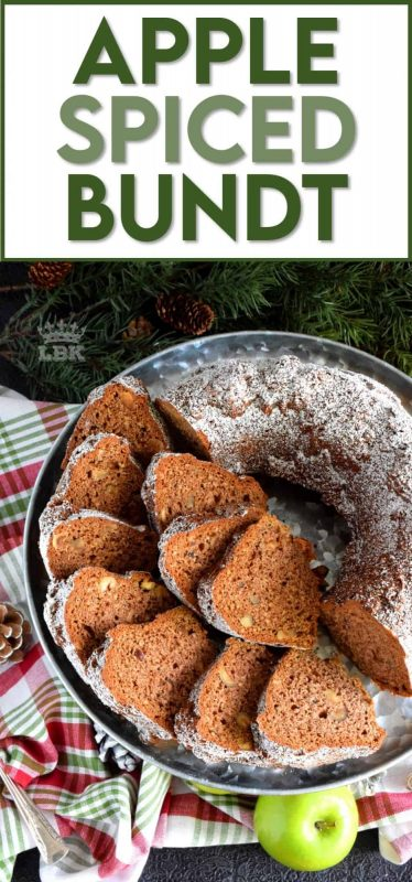 Chopped apples and pecans, combined with holiday spices, make this bundt cake a perfectly rich and moist Christmastime dessert! #bundt #bundtbakers #cake #apple #spiced #christmas #holiday