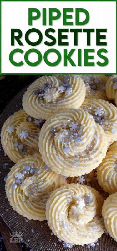 There's no skill needed to make these gorgeous Holiday Piped Rosette Cookies; they're very impressive, but they're also very easy! #rosette #piped #cookies #christmas #holiday #baking