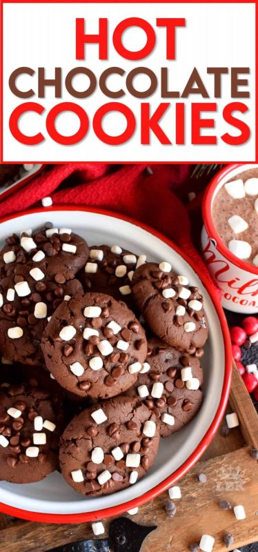 Hot Chocolate Cookies are slightly crispy on the outside, with a moist and dense chocolaty center; complete with mini marshmallow bits! #hotchocolate #hot #chocolate #cookies #marshmallow #bits
