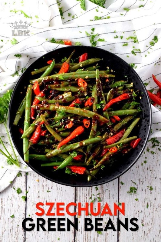 Green Beans aren't just for casseroles; jazz up your weeknight side dish with these fast and easy, Hot and Spicy Szechuan Green Beans! Control the heat with more or less chilies to suit your personal tastes! #szechuan #greenbeans #spicy #vegetarian #sidedish