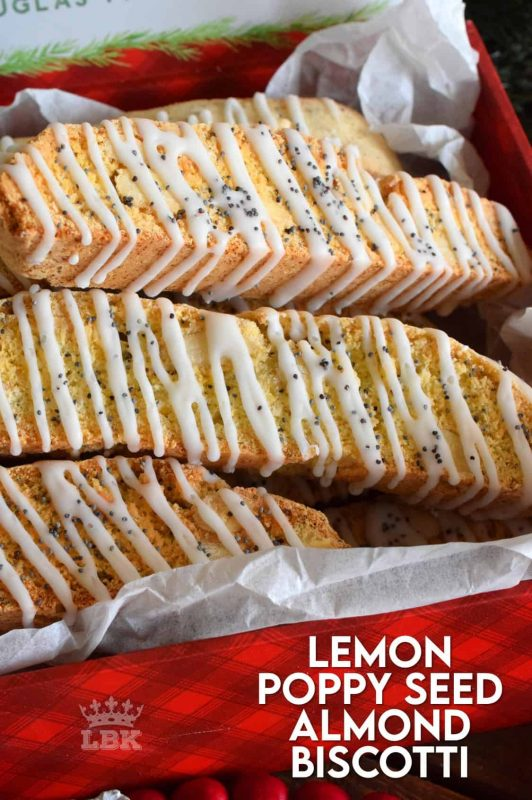 Sweet, tart, and a whole lot of fresh lemon flavour is what makes this Lemon Poppy Seed Almond Biscotti so delicious. Perfect for dunking in an afternoon hot drink! #biscotti #lemon #almond #poppyseed #christmas #holiday #baking