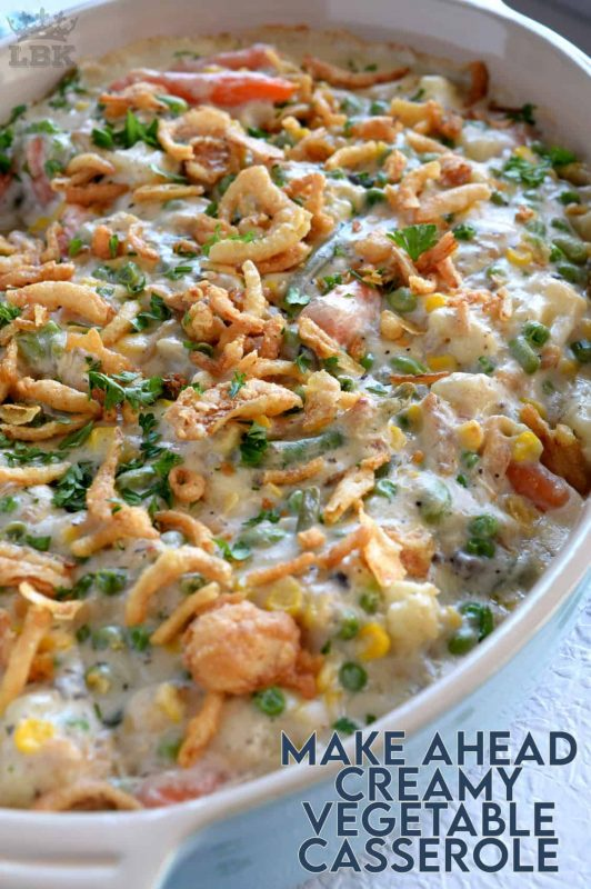 A make ahead casserole consisting of vegetables and a creamy sauce - served as a side or a main, this casserole will most certainly get vegetables onto your table and into the bellies of your loved ones. #casserole #vegetarian #makeahead #thanksgiving