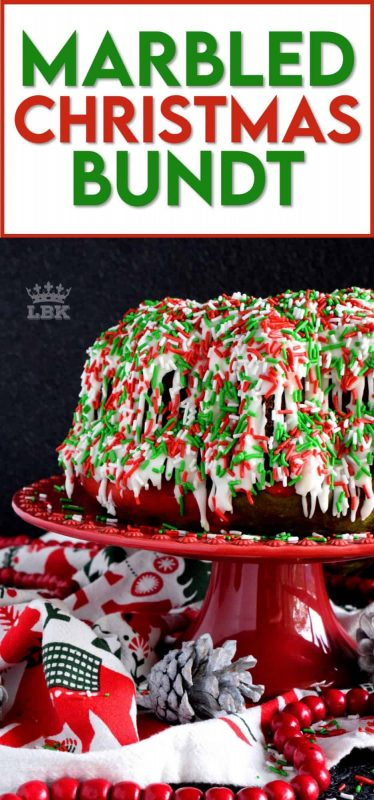 Kids of all ages will love a big slice of this Marbled Christmas Bundt Cake. This cake is festive, colourful, merry, and bright! #marble #christmas #cake #bundt #bundtbakers #holiday #red #green #sprinkles