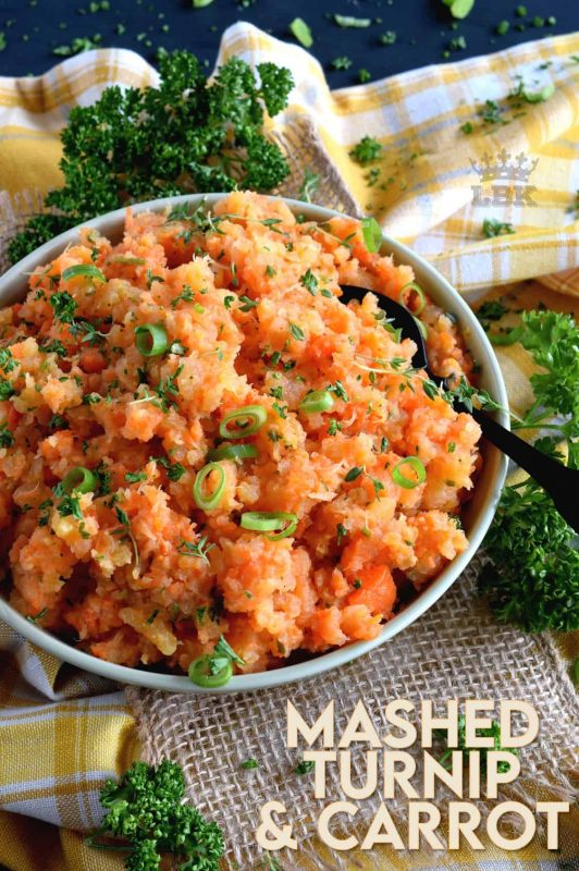 Nothing compares to the rustic simplicity of Mashed Turnip and Carrots with Herb Butter.  Comforting and wholesome ingredients, inexpensive and readily available, it will add a pop of colour to your plate and fill your belly with a mom-approved delicious side dish. #mashed #turnip #carrot #vegetable #sidedish
