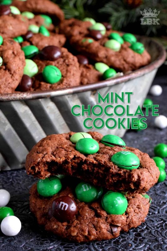 Mint Chocolate M&M Cookies are meant for the serious mint and chocolate lover. Loaded with mint m&ms, and packed with cocoa, these cookies are super moist and chewy! #M&M #mint #cookies #christmas #holiday #baking