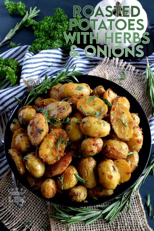 The most humble of all vegetables is absolute perfection in this Roasted Potatoes with Herbs and Crunchy Onions recipe. Soft and fluffy on the inside with a golden exterior, and paired with simple seasonings and onions. #potatoes #roasted #thanksgiving #sidedish #vegetarian