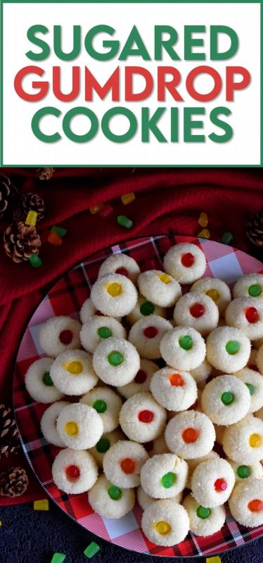 Sugared Gumdrop Cookies are butter cookies which have been generously tossed in sanding sugar with a festive gumdrop baked right into the center! #cookies #sugared #gumdrops #christmas #holiday #baking