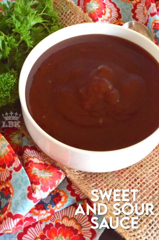 It takes five minutes to make this delicious Sweet and Sour Sauce.  With a perfect sweet and sour balance, you'll want to pour this sauce on just about everything! #sweet #sour #sauce #sweetandsour #homemade