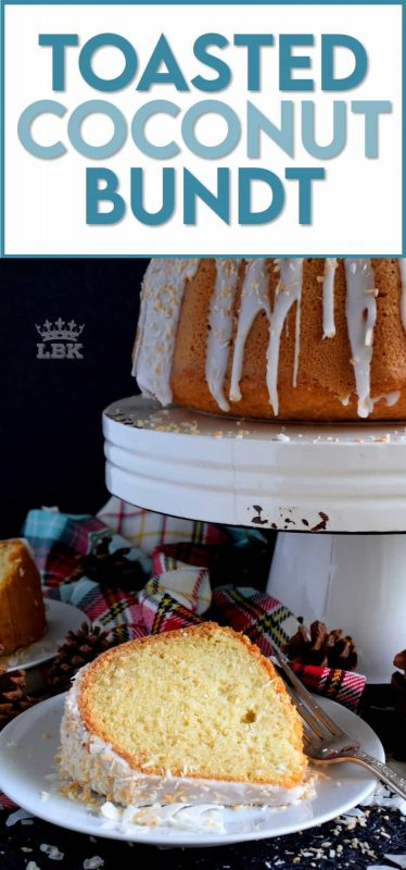 If you have a coconut lover in your life, this gorgeous Toasted Coconut Bundt Cake is going to make that person very happy! #bundt #cake #bundtbakers #coconut #toasted #cake #christmas #holiday