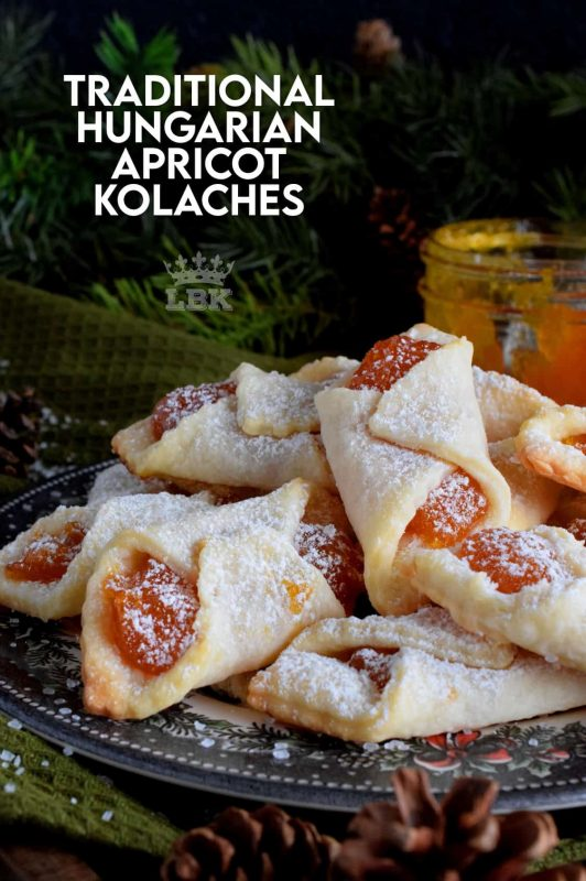 Traditional Hungarian Kolaches are cookies made with cream cheese dough and filled with apricot jam; they are very common at Christmastime. #christmas #holiday #baking #hungarian #kolaches #traditional #cookies #jam
