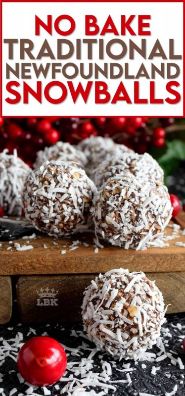 One of the most recognized confections in Newfoundland, these traditional snowballs are a no-bake version with lots of chocolate and coconut flavour! #chocolate #snowballs #traditional #newfoundland #christmas #holiday