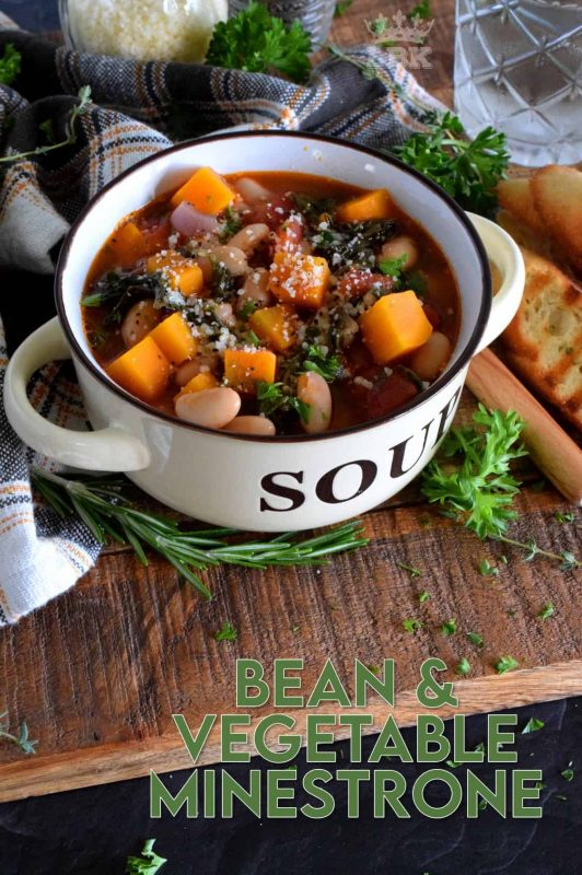 A hearty soup for a cold day, Bean and Vegetable Minestrone is prepared with Swiss chard, tomatoes, white beans, and more.  Serve with a sprinkle of parmesan and some grilled bread for a complete meal! #vegetarian #soup #minestrone #beans #coldweather #swisschard