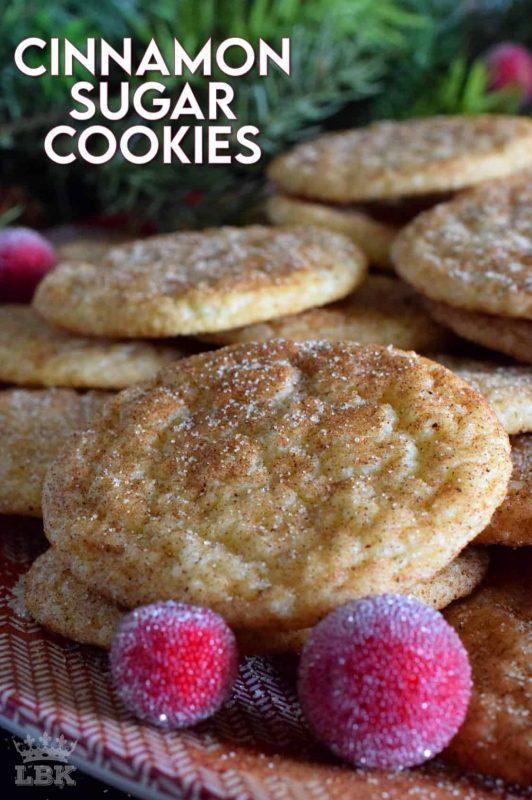 More commonly known as Snickerdoodles, Cinnamon Sugar Cookies are a family favourite.  Before baking, the cookie is rolled in a cinnamon sugar mixture, which gives the cookie that recognizable and familiar crinkly appearance. #cinnamon #sugar #cookies #snickerdoodles #christmas #holiday #baking