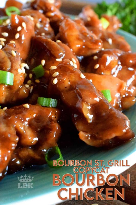 A copycat version of Bourbon St. Grill's famous Bourbon Chicken.  Like the name suggests, this chicken is prepared with alcohol, but has a non-alcoholic version too!  Tender, juicy chicken in about 30 minutes! #bourbon #chicken #copycat #recipe