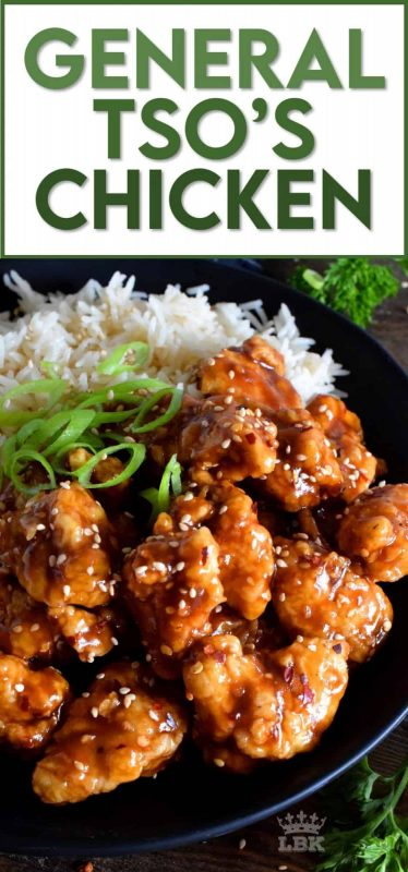 General Tso's Chicken is a North American Chinese food favourite! Fried, crispy, battered chicken is tossed in a sweet and spicy garlic and ginger sauce. Serve with extra sesame seeds and lots of rice for a great take out dinner made at home! #general #tso #tso's #chicken #homemade #takeout #chinese #food