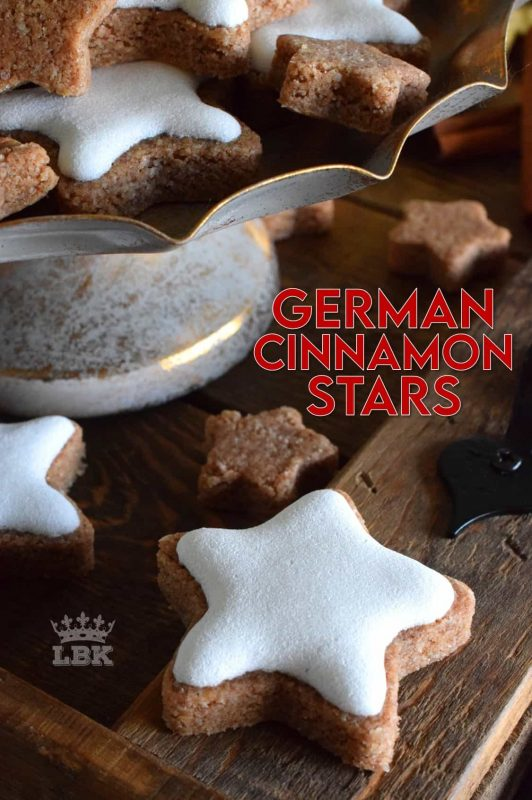 Ground almonds and cinnamon help to create the base of this traditional Christmas cookie. Meringue glazed German Cinnamon Stars are bound to be a new family favourite! #german #meringue #cinnamon #stars #christmas #holiday #baking #cookies