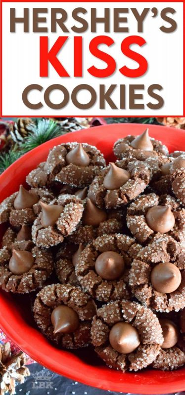A deliciously decadent chocolate cookie, coated in sugar, and topped with a chocolate kiss, Hershey's Kiss Cookies are a perfect holiday treat that everyone will love! #hersheys #kiss #cookies #christmas #holiday #baking