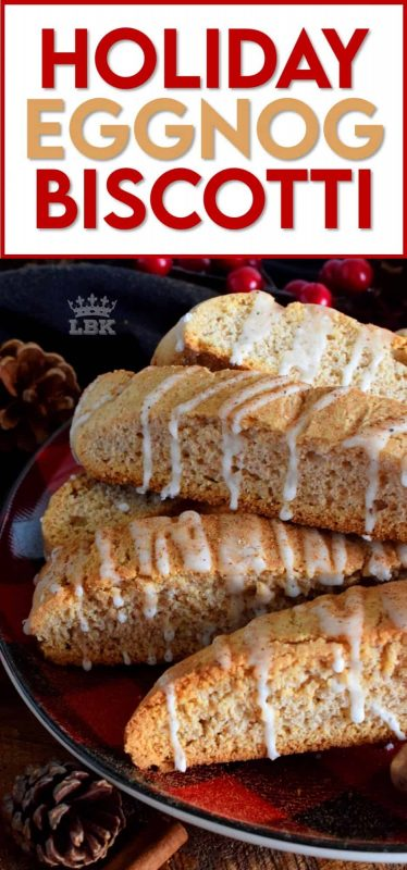Prepared with eggnog and whiskey, Holiday Eggnog Biscotti is a cookie confection that's all grown up! Perfectly crunchy, delightfully balanced, and terribly tempting; this is the ultimate biscotti! #biscotti #eggnog #christmas #holiday #baking