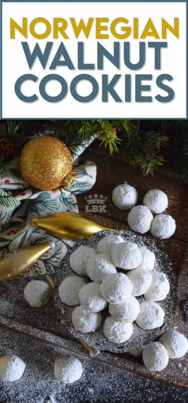 This cookie is all about the walnuts. Norwegian Walnut Cookies are loaded with them and liberally dusted with confectioner's sugar. They're a perfect pop-in-your-mouth, one-bite cookie! #walnut #butter #cookies #norwegian #christmas #holiday #baking