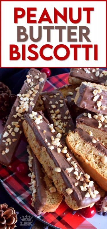 A delicious crisp confection that tastes just as good as it looks! Peanut Butter Biscotti is loaded with peanut butter flavour and paired with melted milk chocolate! #peanutbutter #biscotti #cookies #chocolate #christmas #baking #holiday