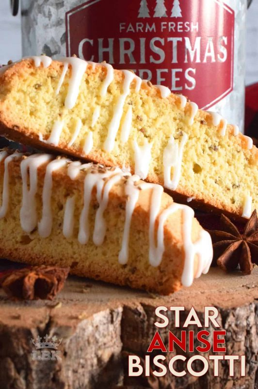 If you love the taste of licorice, you'll love Star Anise Biscotti! Light and crispy, and beautifully glazed with simple icing; these pair so well with a latte and make a perfect afternoon treat! #star #anise #licorice #biscotti #christmas #holiday #baking #glazed