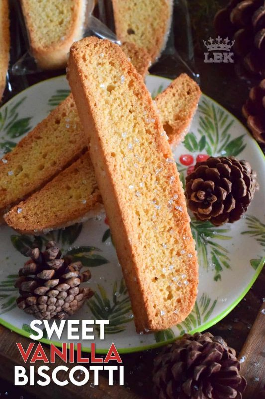 Nothing can beat a classic, and Sweet Vanilla Biscotti is the epitome of classic! Serve this cookie with a piping hot latte; just perfect for dunking on a cold, wintery afternoon! #vanilla #biscotti #christmas #holiday #baking #cookies