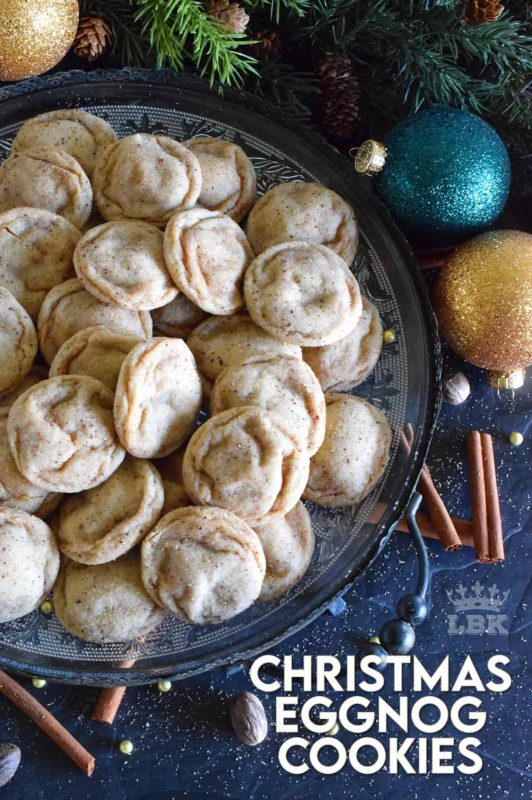 A soft, chewy cookie prepared with eggnog and rum.  Christmas Eggnog Cookies are loaded with nutmeg too, which makes them taste extra eggnog-y!  They aren't too pretty to look at, but they taste marvelous! #eggnog #cookies #christmas #holiday #baking