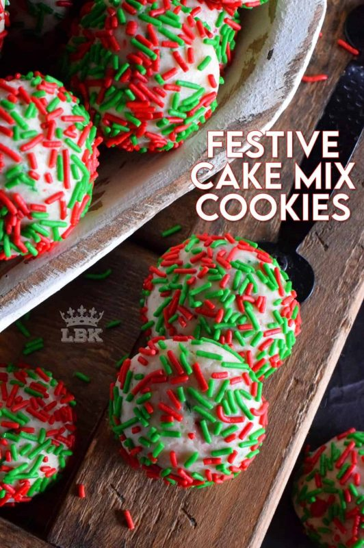 A store-bought boxed cake mix does all of the work in these Festive Cake Mix Cookies.  Add in eggs, vanilla, oil, and sprinkles for a fun, kid-friendly Christmas cookie! #cakemix #cookies #christmas #holiday #festive #baking #sprinkles