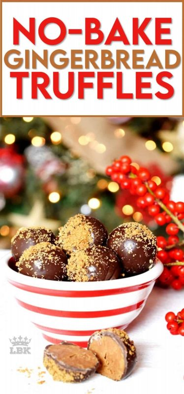 Nothing compares to the warming and comforting taste and smell of gingerbread at Christmastime.  These Gingerbread Truffles are the perfect bite-sized treat for sharing.  And, they make a perfect bring-along treat to any festive party! #gingerbread #chocolate #truffles #christmas #holiday #baking #cookies