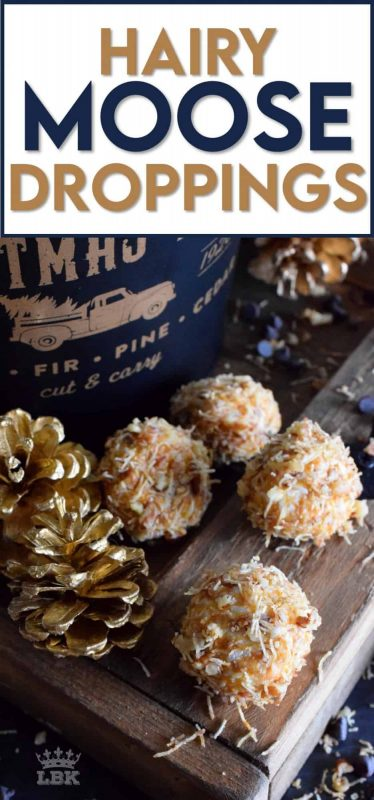 A fun and festive no-bake cookie confection prepared with basic and inexpensive pantry ingredients, Hairy Moose Droppings are sure to get a giggle and definitely a big YUM too! #hairy #moose #cookies #poop #droppings #christmas #holiday