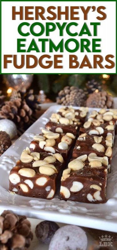 The candy bar of yesteryear comes back to life in this make-at-home copycat version.  Eat More Fudge Bars will satisfy all of your sweet tooth cravings and then some!  #eatmore #fudge #christmas #holiday #nobake