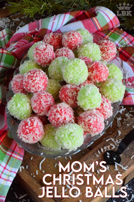 No baking, no melting, and just one mixing bowl! Mom's Christmas Jello Balls are one of the easiest cookies you'll make this holiday season! #jello #coconut #balls #christmas #holiday #nobake #kids