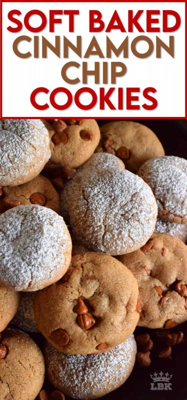 If you love soft, cinnamon flavoured cookies, these Soft Baked Cinnamon Chip Cookies are for you!  Loaded with lots of cinnamon flavour, these quick, easy, freezer-friendly too! #softbaked #cookies #cinnamonchips #christmas #holiday #baking