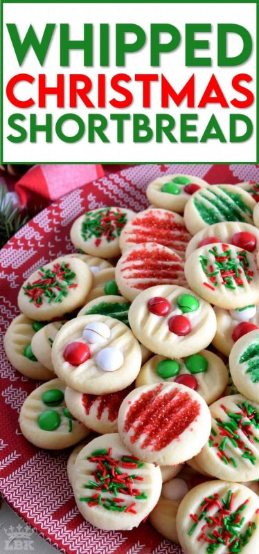 Christmastime is rushed and hurried; who has time for rolling pins and chilling dough?  With this Whipped Christmas Shortbread recipe, you can have shortbread cookies ready to eat in less than 30 minutes! #shortbread #whipped #christmas #holiday #baking