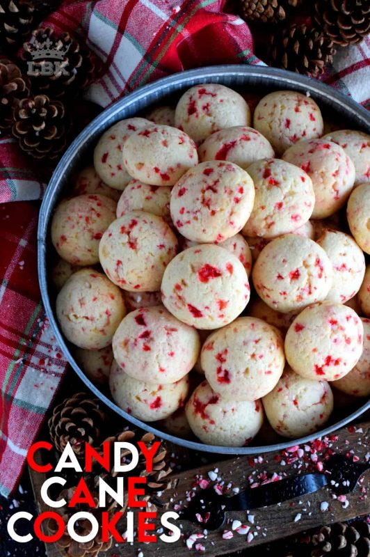 Soft and fluffy, light and moist, Candy Cane Cookies are for the serious candy cane lover, complete with real crushed candy canes! #cookies #candycanes #candy #canes #holiday #christmas #baking