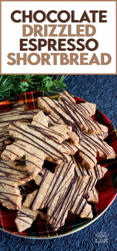 Shortbread is a Christmastime classic, but there's always room for improvement.  Chocolate Drizzled Espresso Shortbread is a perfect example of an improved classic. #shortbread #espresso #chocolatedrizzle #christmas #holiday #baking