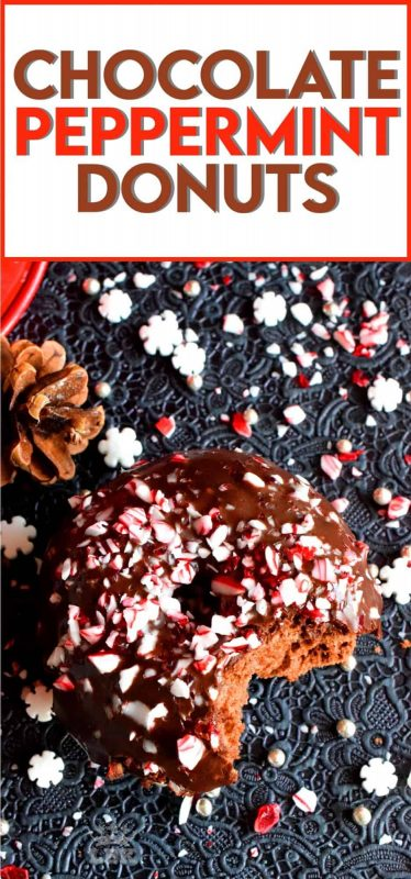 Chocolate and peppermint is a match made in Christmas heaven, which is why these Chocolate Peppermint Donuts are the heavenliest of all donuts! #donuts #homemade #christmas #holiday #baking