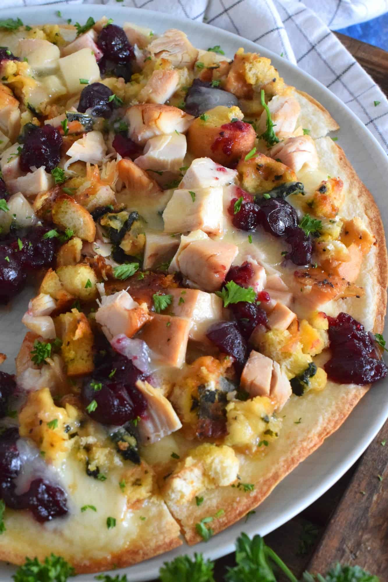Turkey And Stuffing Tortilla Pizza