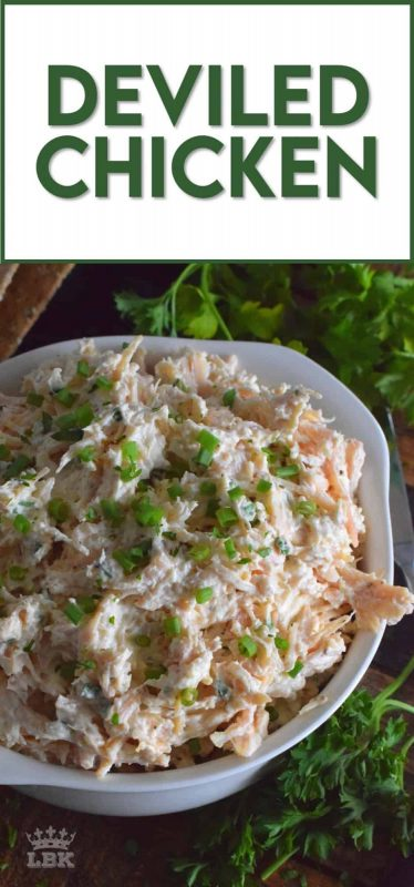 Prepared with poached chicken breasts or your favourite canned, flaked chicken, Deviled Chicken is a wonderful spread on crackers, a great addition to any charcuterie board, or a delicious start to a delightful sandwich. #deviled #chicken #salad #appetizer #pate #spread #canned #poached