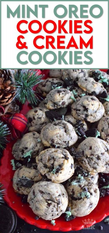 A soft and chewy cookie that's stuffed with crushed Mint Oreo Cookies and chocolate chips.  Prepared with cream cheese, this cookie is sure to stay soft and moist until they're all gone! #oreo #mintoreos #cookiesandcream