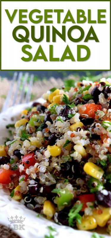 A light and refreshing, veggie-packed summer salad with the wholesome goodness of quinoa. Fast and easy to prepare, Vegetable Quinoa Salad is a great side or main dish! #quinoa #vegetable #salad #vegetarian