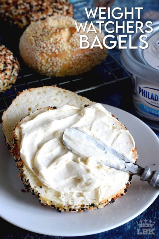 Yogurt and flour is all you need to make these Weight Watchers Bagels! The topping is up to you - everything seasoning, poppy or sesame seeds, or just plain. Only 3 points per bagel! #WW #smartpoints #weightwatchers #bagels #points