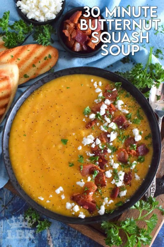 Save yourself some time by using store-bought, frozen squash for this recipe.  It's one of those one-pot, all ingredients in at the same time, type of recipes.  30 Minute Butternut Squash Soup is creamy, full of flavour, and a perfect warm and cozy family meal! #30minuterecipes #soup #vegan #vegetarian #dairyfree #meatlessmonday #butternutsquash #squash