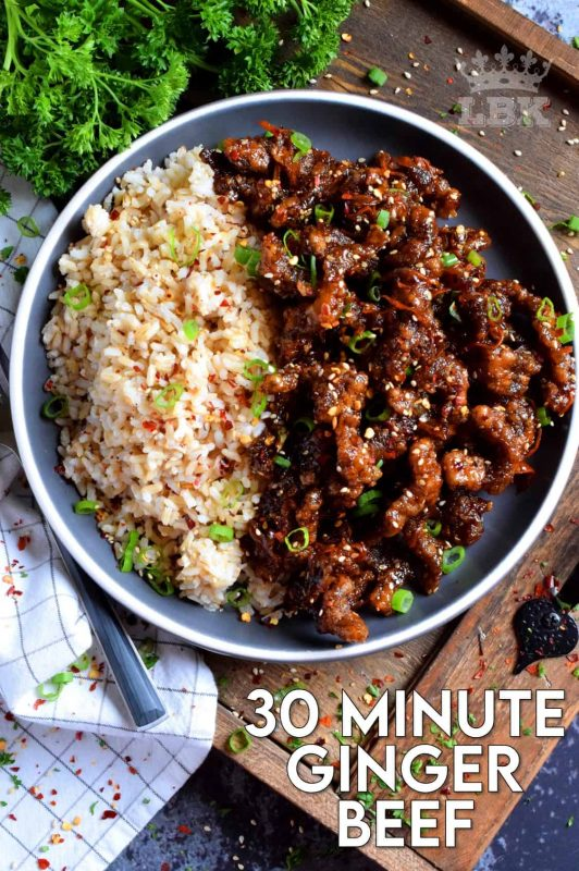 Thinly sliced beef, fried until crispy, and coated in a garlic and ginger sauce; 30 Minute Ginger Beef is an inexpensive dinner the whole family will love! #ginger #beef #takeout #homemade #garlic #fried #crispy