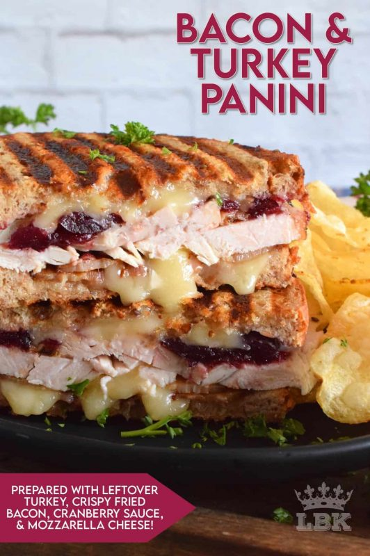 Stuffed to the max with sliced turkey, crispy bacon, and cranberry sauce, this Bacon and Turkey Panini is very juicy and loaded with melted, gooey cheese! #sandwich #panini #grilledsandwich #paninipress #leftovers #turkey #bacon