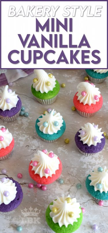 A classic vanilla cupcake recipe, which has been all gussied up for a delightful springtime affair; Bakery Style Mini Vanilla Cupcakes are super easy and fun to make without breaking the bank. #minicupcakes #bakerystyle #vanillacupcakes #birthdaycupcakes